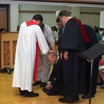 Ordination counsel laying on hands and praying for me